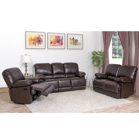 Leather Reclining Sofa Set Of 3 Chocolate Brown - CorLiving : Target