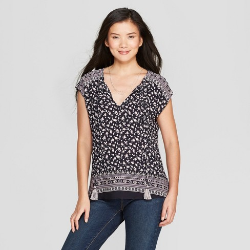 Women's Short Sleeve Floral Print Tassel Popover Top - Knox Rose™ Navy - image 1 of 2