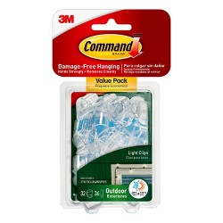 Command Clear Outdoor Light Clips with Foam Strips Value Pack (32 Clips 36 Strips)
