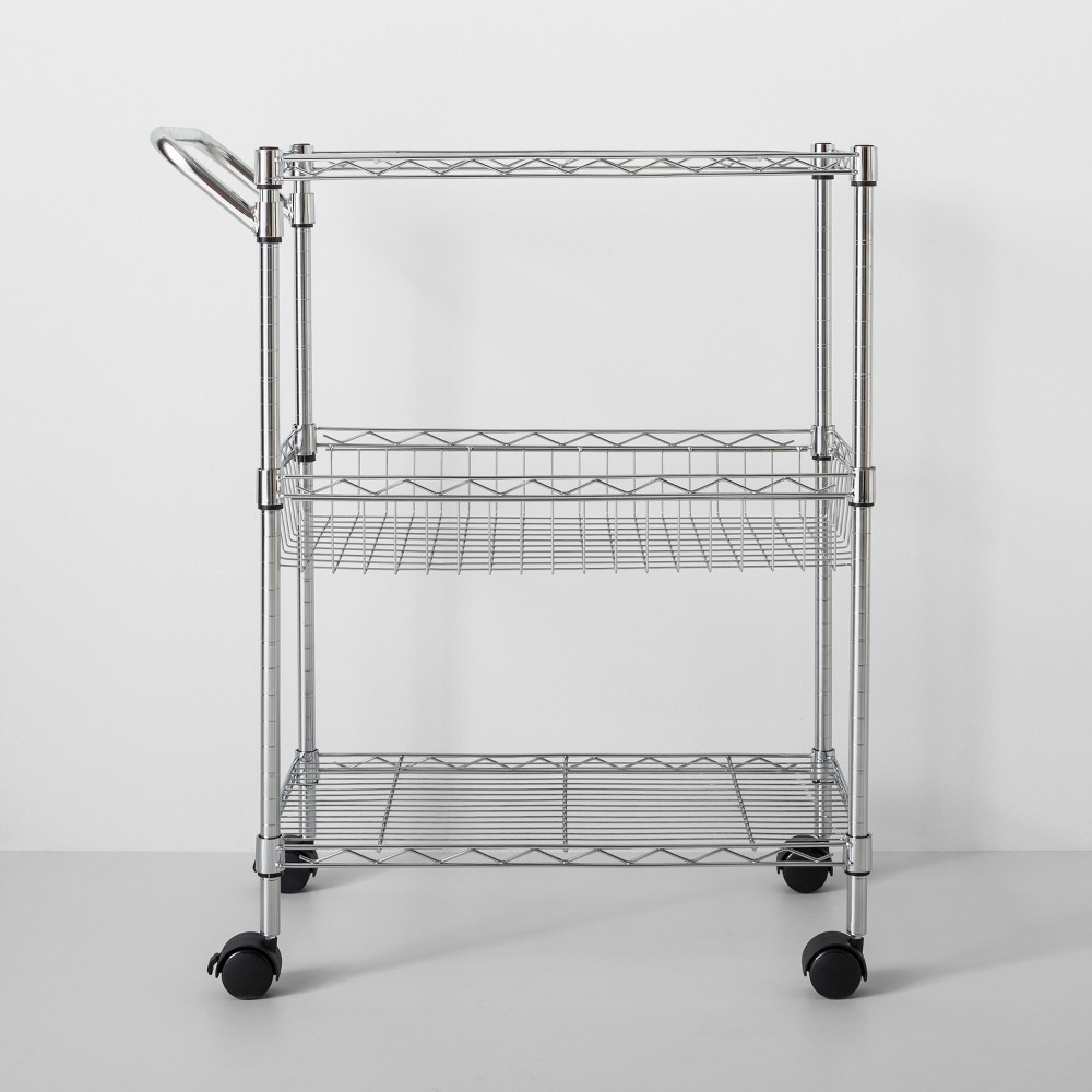 Image of 3 Tier Utility Cart With Wheels And Handle Chrome - Made By Design , Silver