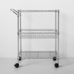 3 Tier Utility Cart With Wheels And Handle Chrome - Made By Design™