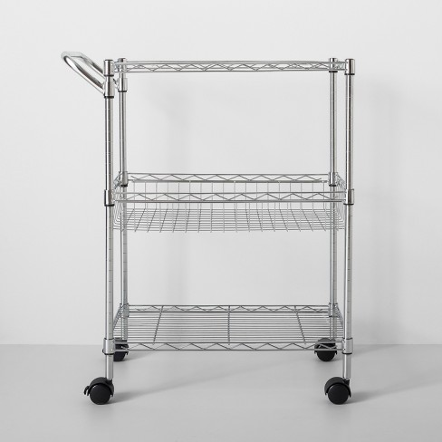 3 Tier Utility Cart With Wheels And Handle Chrome Made By Design