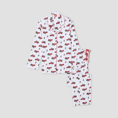 Women's Holiday Mickey Mouse Flannel Matching Family Pajama Set - White M