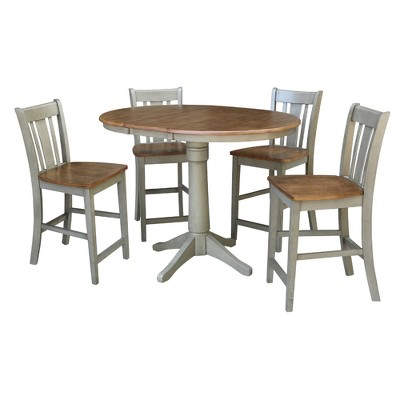 """36"""" Mona Round Extension Dining Table with 4 San Remo Stools - International Concepts"""