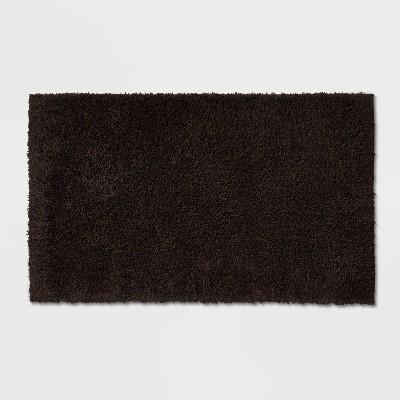 "20""x34"" Antimicrobial Bath Rug Black - Total Fresh"
