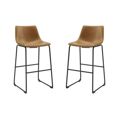 Set of 2 Urban Faux Leather Bar Stools Whiskey Brown - Saracina Home