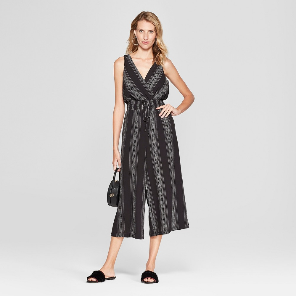 Women's Striped Print Laceup Waist Jumpsuit - Lux II - Black S