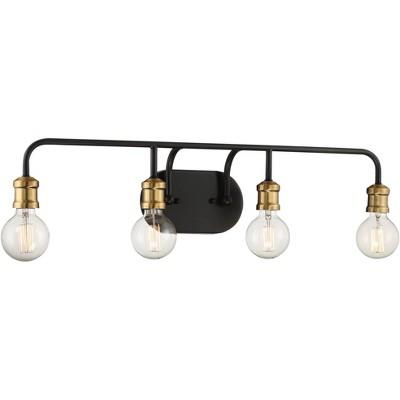 "Possini Euro Design Modern Industrial Wall Light Black Brass Hardwired 28 1/2"" Wide 4-Light Fixture Non Glass for Bathroom Vanity"