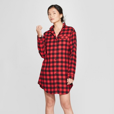 Women's Plaid Flannel Notch Collar Sleep Button-Up Shirt - Gilligan & O'Malley™ Red M