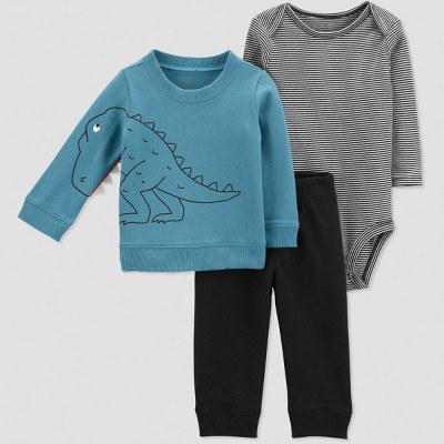 Baby Boys' 3pc French Terry Stripe Dino Set - Just One You® made by carter's Blue/Black 3M
