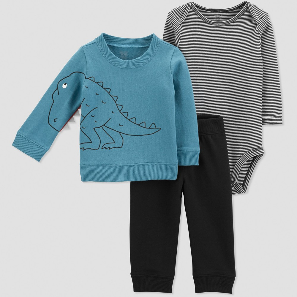 Baby Boys' 3pc French Terry Stripe Dino Set - Just One You made by carter's Blue/Black 12M