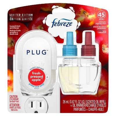 Febreze Fresh-Pressed Apple Scented Plug Air Freshener Scented Oil Refill and Oil Warmer - 1ct