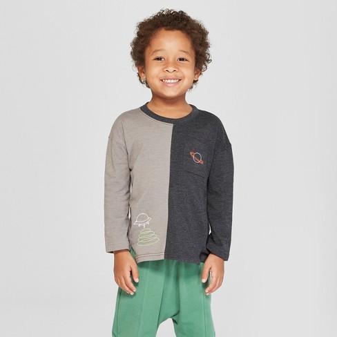 8cc4076cd Toddler Boys  Spliced Long Sleeve T-Shirt -Cat   Jack™ Gray Black   Target
