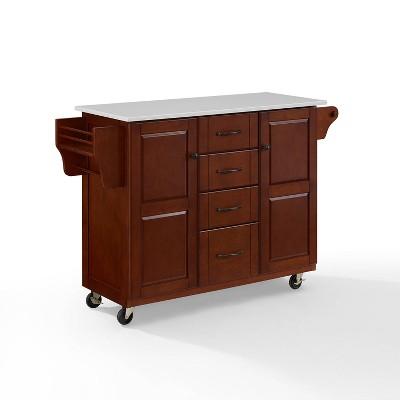 Eleanor Granite Top Kitchen Cart Mahogany - Crosley
