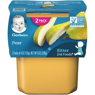Gerber Sitter 2nd Foods Pear Baby Meals Tubs - 2ct/4oz Each