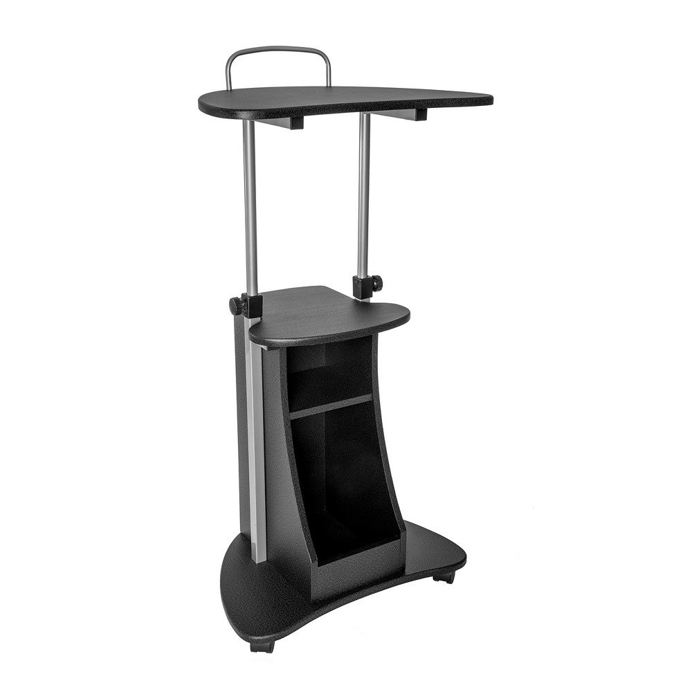 Sit To Stand Rolling Adjustable Height Laptop Cart with Storage Graphite (Grey) - Techni Mobili