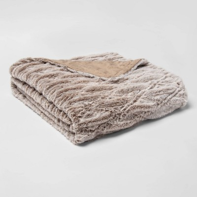 "55"" x 80"" Rouched Faux Fur Bed Throw Beige - Threshold™"