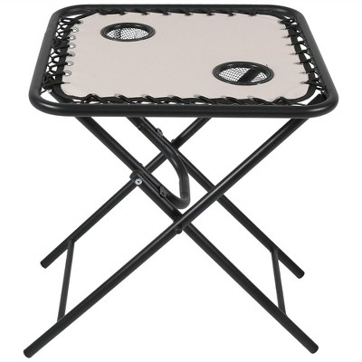 Zero Gravity Folding Side Table With Cup Holders   Beige   Sunnydaze Decor  : Target