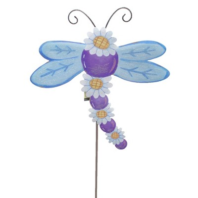 "Home & Garden 29.0"" Daisy Dragonfly Stake Garden Spring Round Top Collection  -  Decorative Garden Stakes"