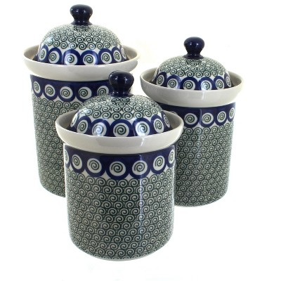 Blue Rose Polish Pottery Peacock Swirl Canister Set
