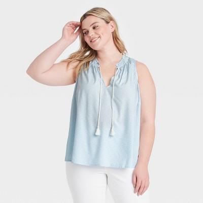 Women's Plus Size V-Neck with Tassel Tank Top - Ava & Viv™