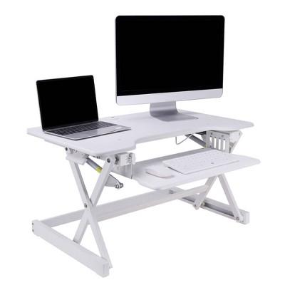 Ergonomic Height Adjustable Sit to Stand Desk Computer Riser, White