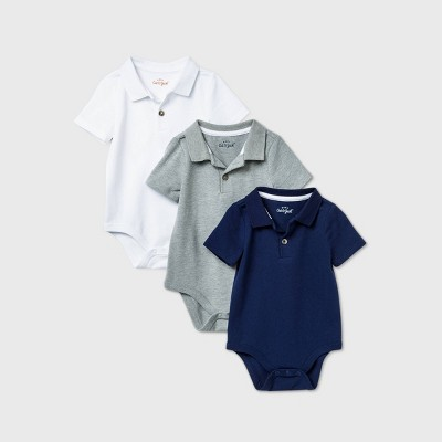 Baby Boys' 3pk Short Sleeve Polo Bodysuit - Cat & Jack™ White/Navy/Gray 3-6M