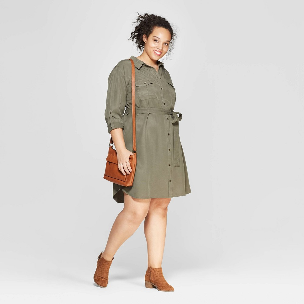 Women's Plus Size Long Sleeve Collared Shirtdress - Universal Thread Olive (Green) 3X