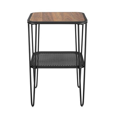 Industrial Hairpin Leg Side Table with Metal Mesh Shelf  - Saracina Home