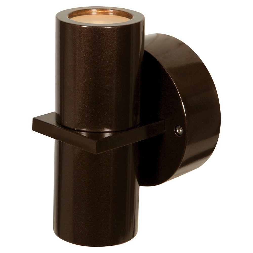 KO 2-Light Marine Grade Outdoor Wall Washer with Clear Glass Shade - Bronze, Brown