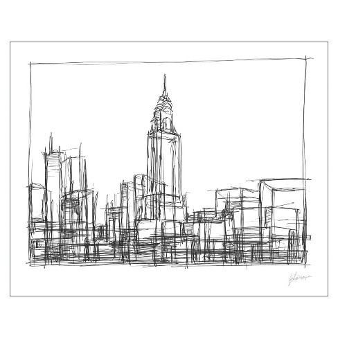 Wire Frame Cityscape II Unframed Wall Canvas Art - (24X30) - image 1 of 1