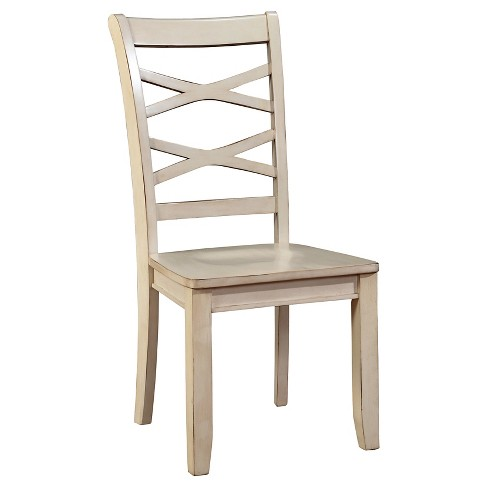 Sun Pine Emery Transitional Cross Back Side Dining Chair White Set Of 2