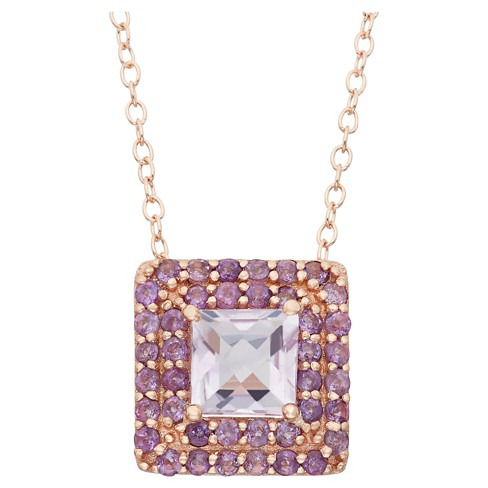 Square-cut Amethyst Accented Pendant in Rose Gold Over Silver - image 1 of 1