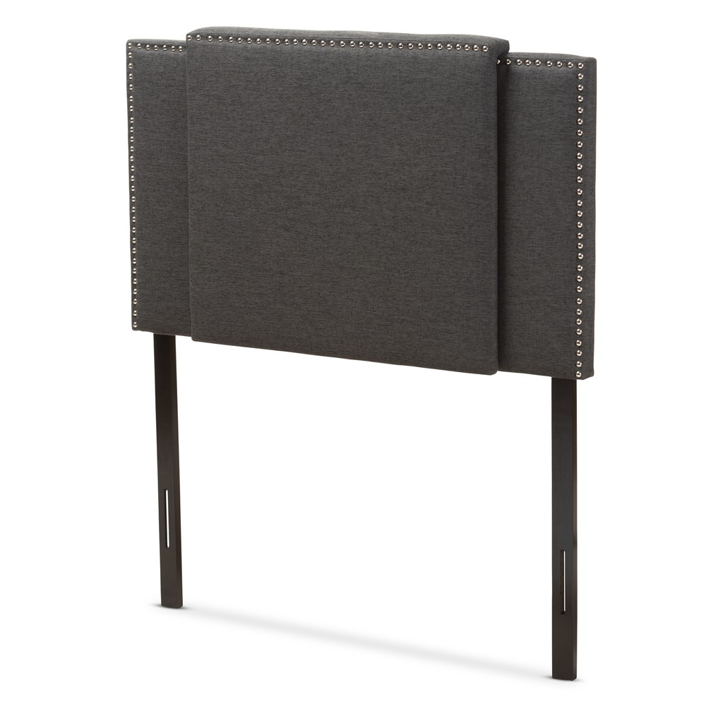Ibbie Modern and Contemporary Fabric Expandable Headboard Full Dark Gray - Baxton Studio