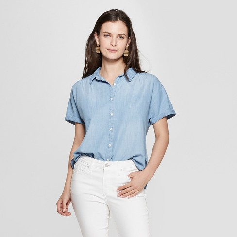 5079dee2 Women's Short Sleeve Collared Denim Camp Shirt - Universal Thread™ Light  Wash