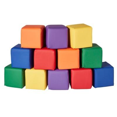 ECR4Kids SoftZone Patchwork Toddler Blocks-Foam Building Blocks for Safe Active Play, 12pk