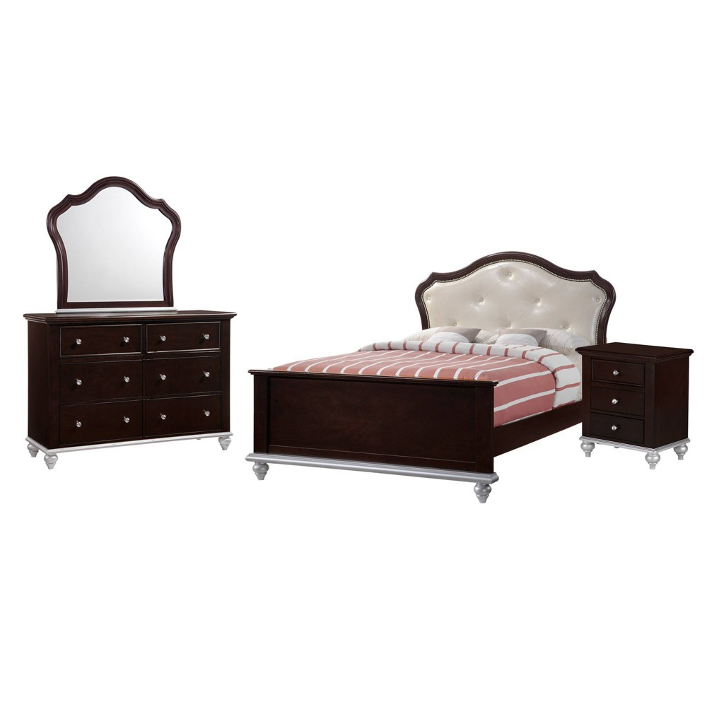 4pc Full Alli Platform Bedroom Set with Trundle Walnut Brown - Picket House Furnishings