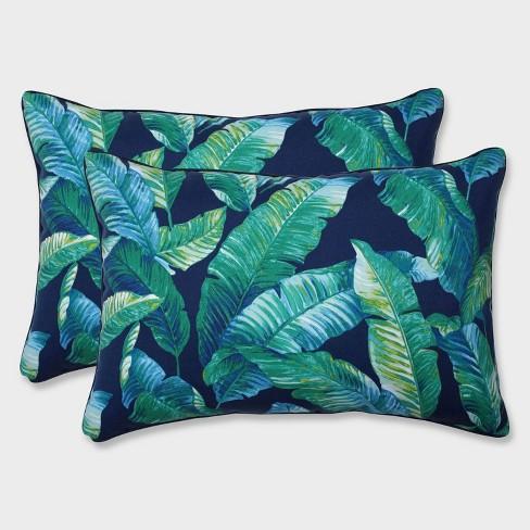 2pk Oversize Hanalai Lagoon Rectangular Throw Pillows Blue - Pillow Perfect - image 1 of 2