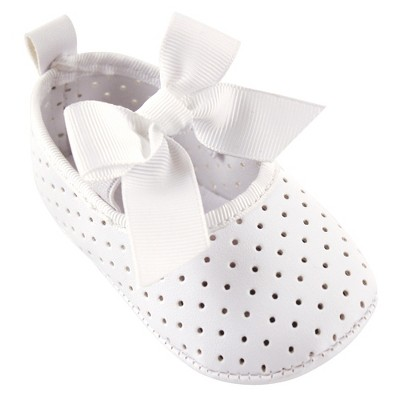 Luvable Friends Baby Girl Crib Shoes, White Mary Jane