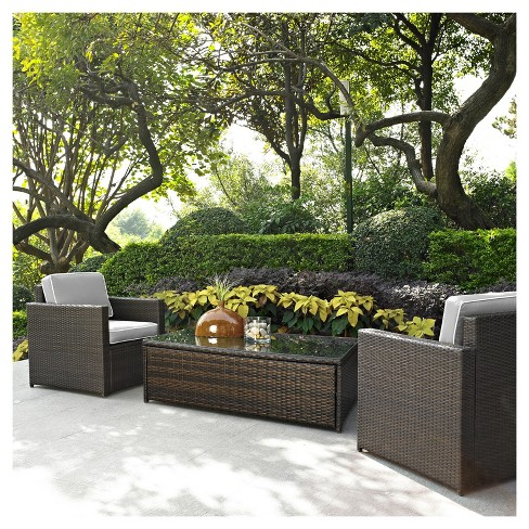 Palm Harbor 3pc All-Weather Wicker Patio Seating Set - Gray Cushions - Crosley - image 1 of 4