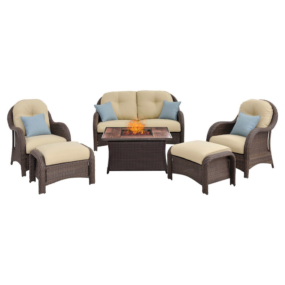 Newport 6pc All-Weather Wicker Patio Conversation Set w/ Fire Pit Table - Cream (Ivory) - Hanover