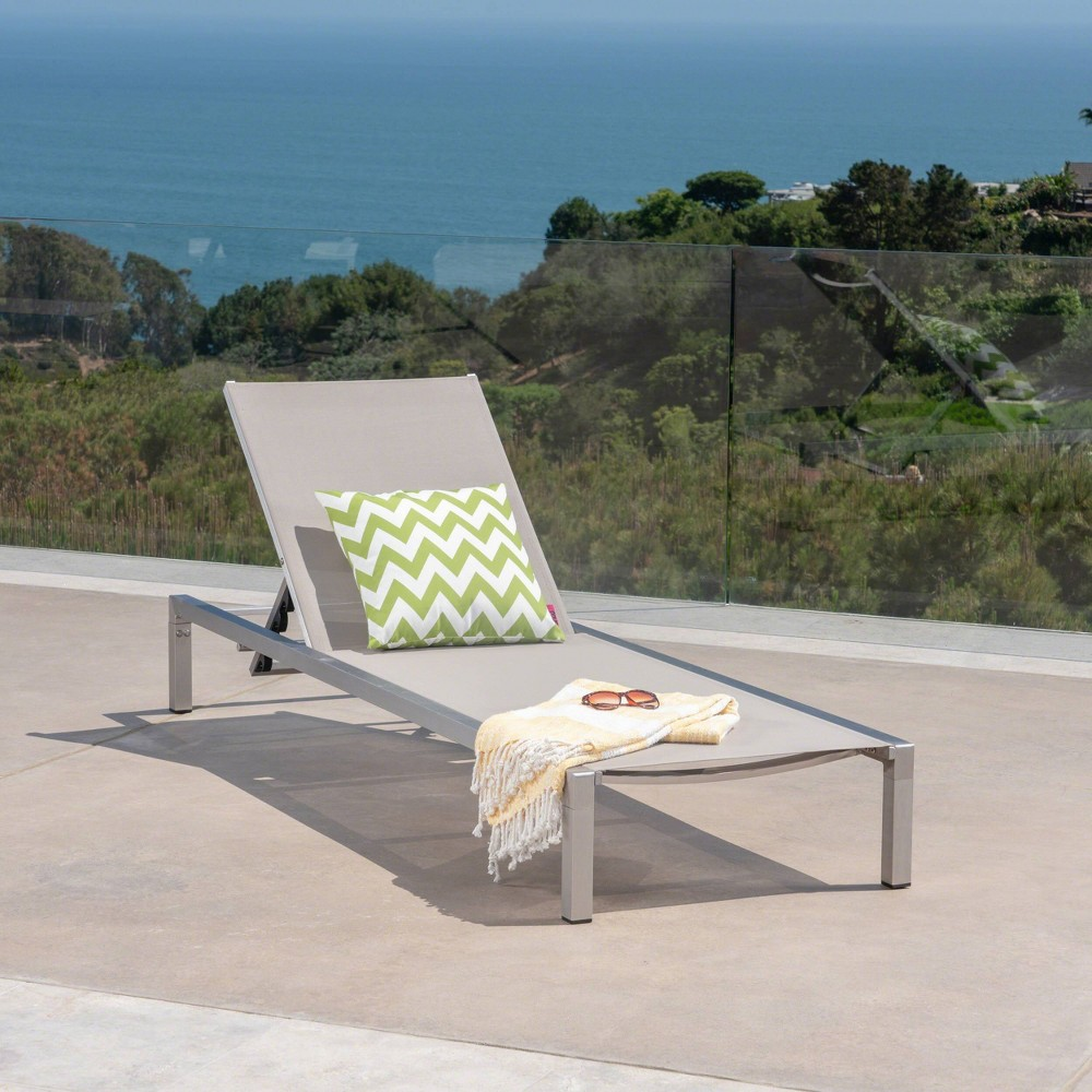 Navan Aluminum Chaise Lounge - Silver/Gray - Christopher Knight Home