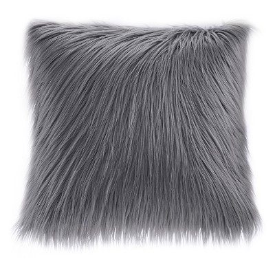 "Gray Adelaide Faux Fur Square Throw Pillow 20""x20"""