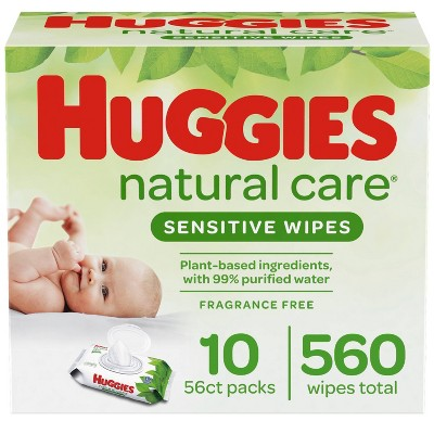 Huggies Natural Care Sensitive Baby Wipes Unscented, 10 Flip-Top Packs (560ct)