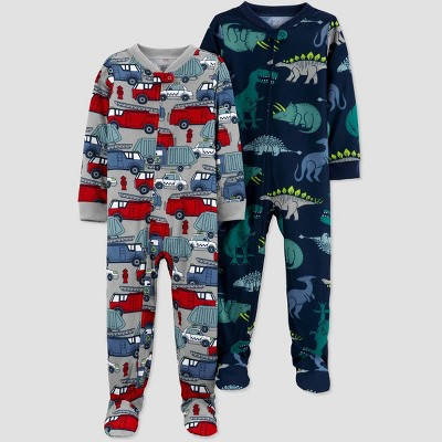 Baby Boys' 2pk Dino Footed Pajama - Just One You® made by carter's Red/Gray/Navy