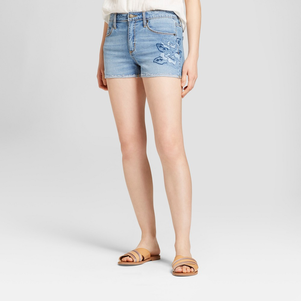 Women's High-Rise Embroidered Jean Shorts - Universal Thread Light Wash 18, Blue