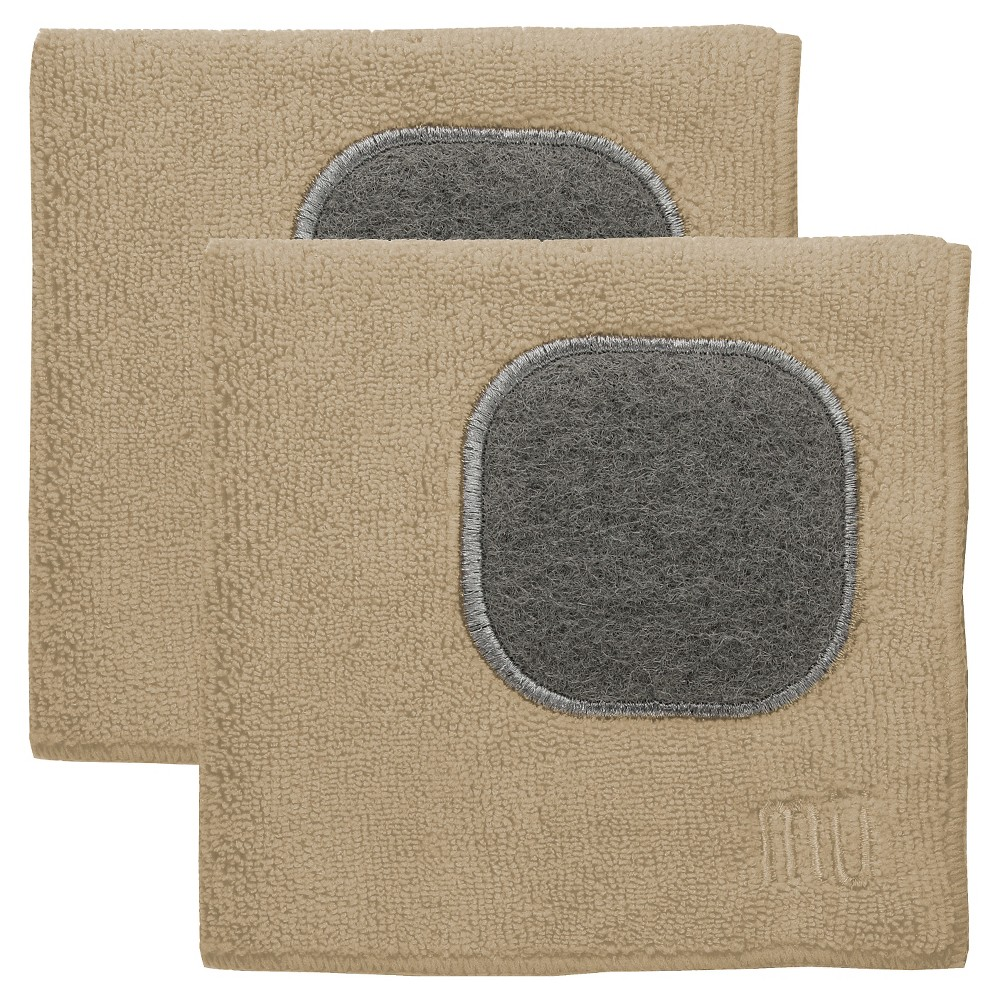 "Image of ""12""""X12"""" 2pk Microfiber Dish Cloth With Scrubber Beige - Mu Kitchen"""