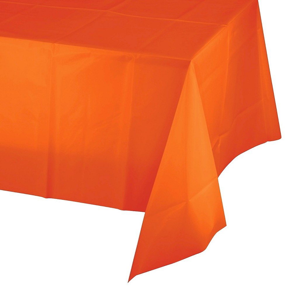 Sunkissed Orange Plastic Tablecover