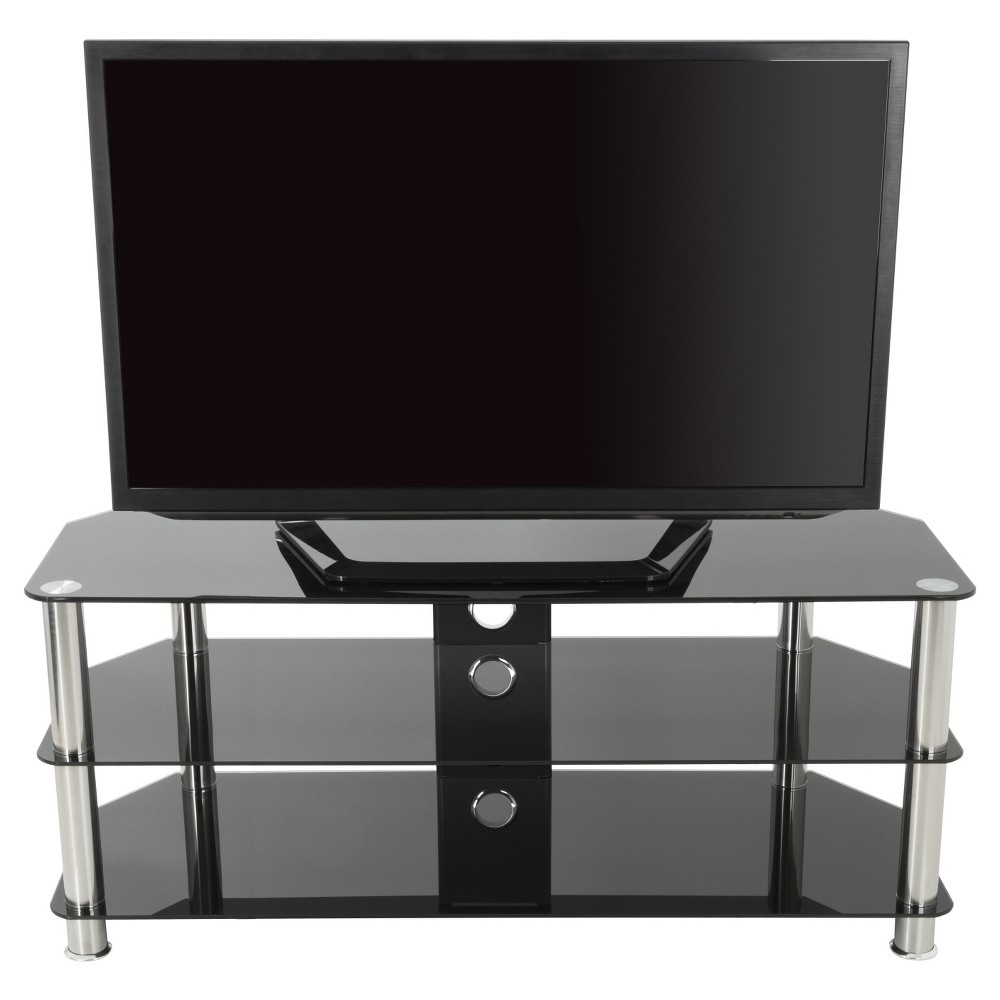 "55"" TV Stand with Cable Management - Silver/Black"