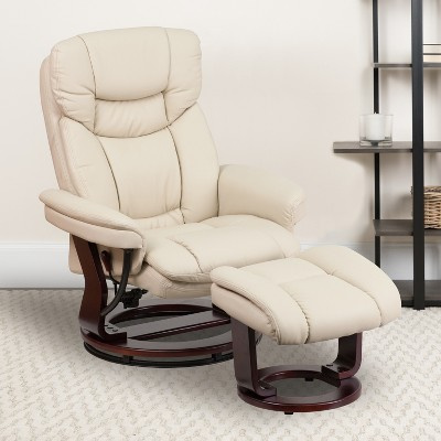 Emma and Oliver Multi-Position Recliner & Curved Ottoman with Swivel Wood Base